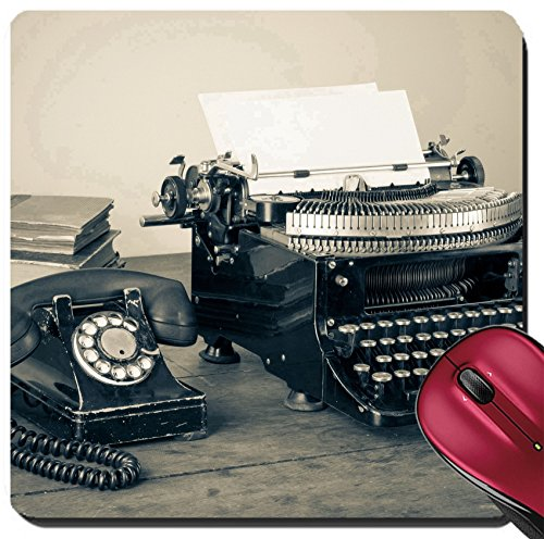 Liili Suqare Mousepad 8x8 Inch Mouse Pads/Mat Vintage Phone Old Typewriter Books on Table Desaturated Photo Image ID 17627808