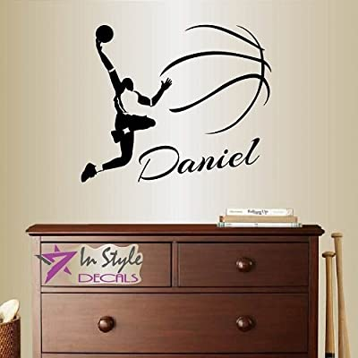 Wall Vinyl Decal Home Decor Art Sticker Slam Dunker Basketball Player Customized Names Boy Man Guy Ball Team Emblem Sportsman Sport Room Removable Stylish Mural Unique Design For Any Room Creative Design Logo House