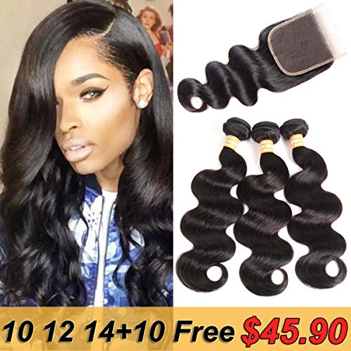 VTAOZI Brazilian Virgin Body Wave Hair 3 Bundles with Closure Free Part 8A 100% Unprocessed Brazilian Body Wave Human Hair Weft Extensions with 4x4 Lace Closure Natural Color (10 12 14 & 10 Free Part)