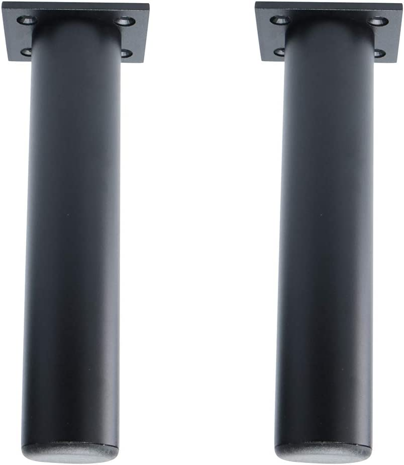 uxcell 7 Inch Round Furniture Legs Aluminium Alloy Sofa Couch Table Cabinet Wardrobe Worktop Shelves Feet Replacement Height Adjuster Black Set of 2