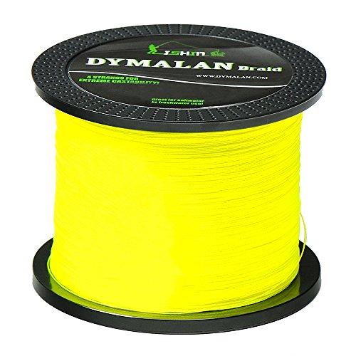 JIMEI Braided Fishing line 1000m/1094yds 50LB Yellow 4 Strands PE Braid Superline - Abrasion Resistance Fishing Line - Zero Stretch - Thinner Diameter for Saltwater & Fresh Water by DYMALAN