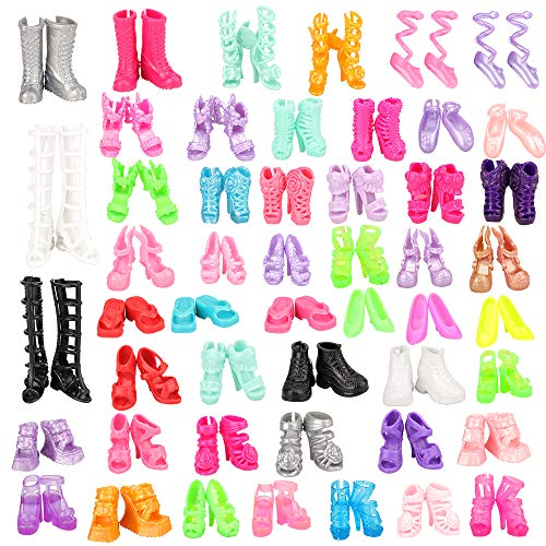 Miunana 50 Pairs Different High Heel Shoes Accessories for 11.5 Inch Doll ()