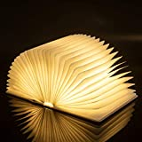 Lanros Folding Booklight, Novelty Rechargeable Wood Cover LED Pages Lamp, Up to 8 Hours for Bookshelf/Bedroom/Wall Magnetic Lamp/Decoration
