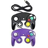 Bowink Ngc Classic Wired Shock Joypad Game Stick Pad Controller for Wii Gamecube NGC Gc Black (Purple and Black)