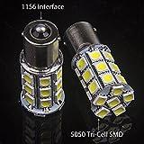 Super White BA15S 1156 27 SMD 5050 LED 1141 1003 Interior Light Bulbs Turn Signal Backup Reverse (10-pack)