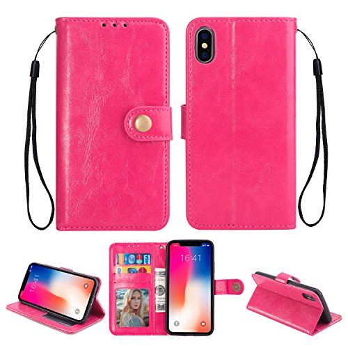 Ostop iPhone Xr Leather Wallet Case,Magenta Classic Oil Wax PU Stand Purse Credit Card Slots Holder Flip Stylish Simple Cover with Retro Metal Clasp for iPhone Xr 6.1 inch