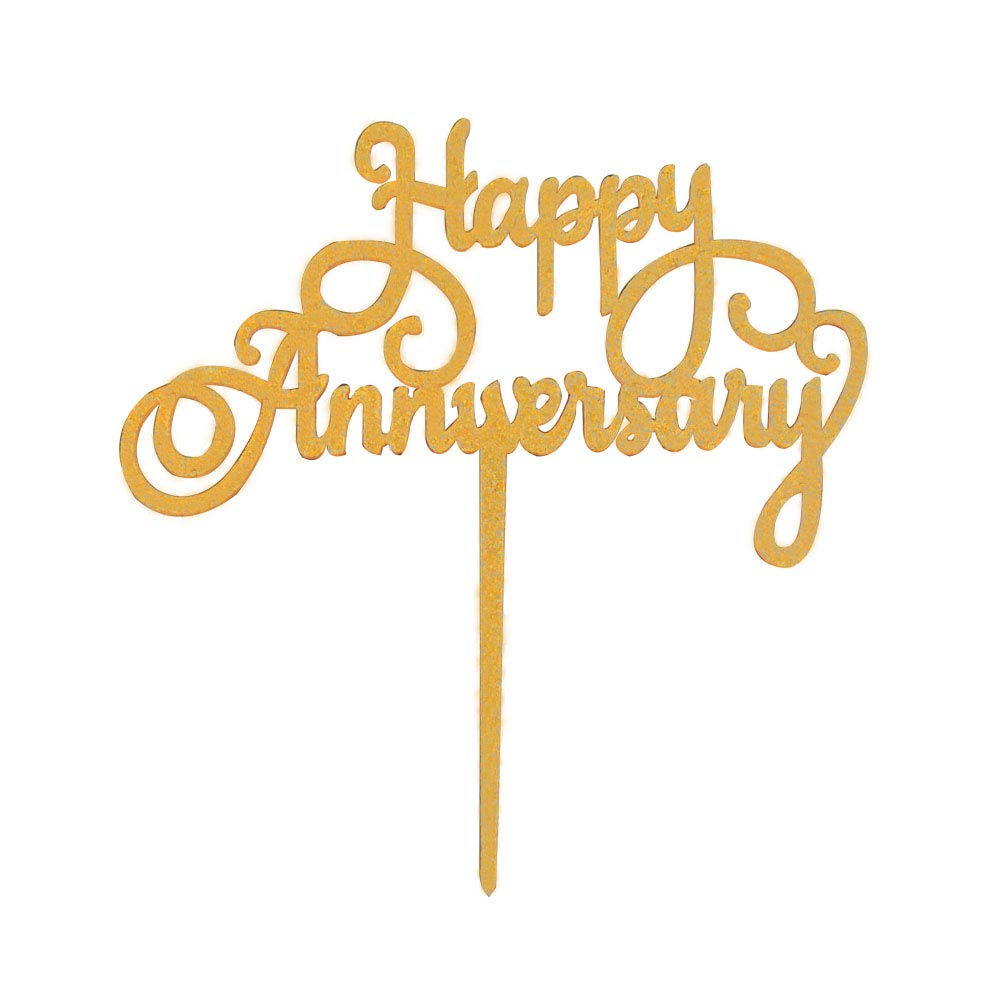 Wedding Anniversary Party Decoration Supplies Photo Props Gold Glitter Acrylic Happy Anniversary Cake Topper Birthday Cake Toppers