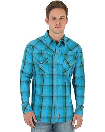 Wrangler Men's Retro Western Long Sleeve Woven Shirt, Green/Blue/Khaki, Large (Shirt Retro Snap Western)
