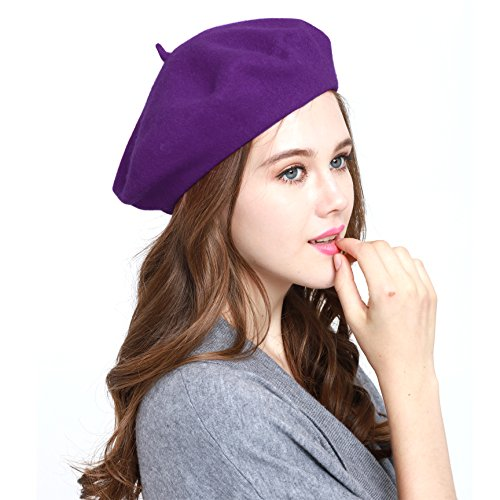 (Classic WW004 Winter 100% Wool Warm French Art Basque Beret Tam Beanie Hat Cap (Purple))