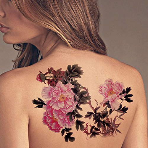 Money Tree Tattoos (TAFLY Extra Large Lower Back Colored Tree Peony Flower Temporary Tattoos Body Art Transfer Sticker for Womens 2)