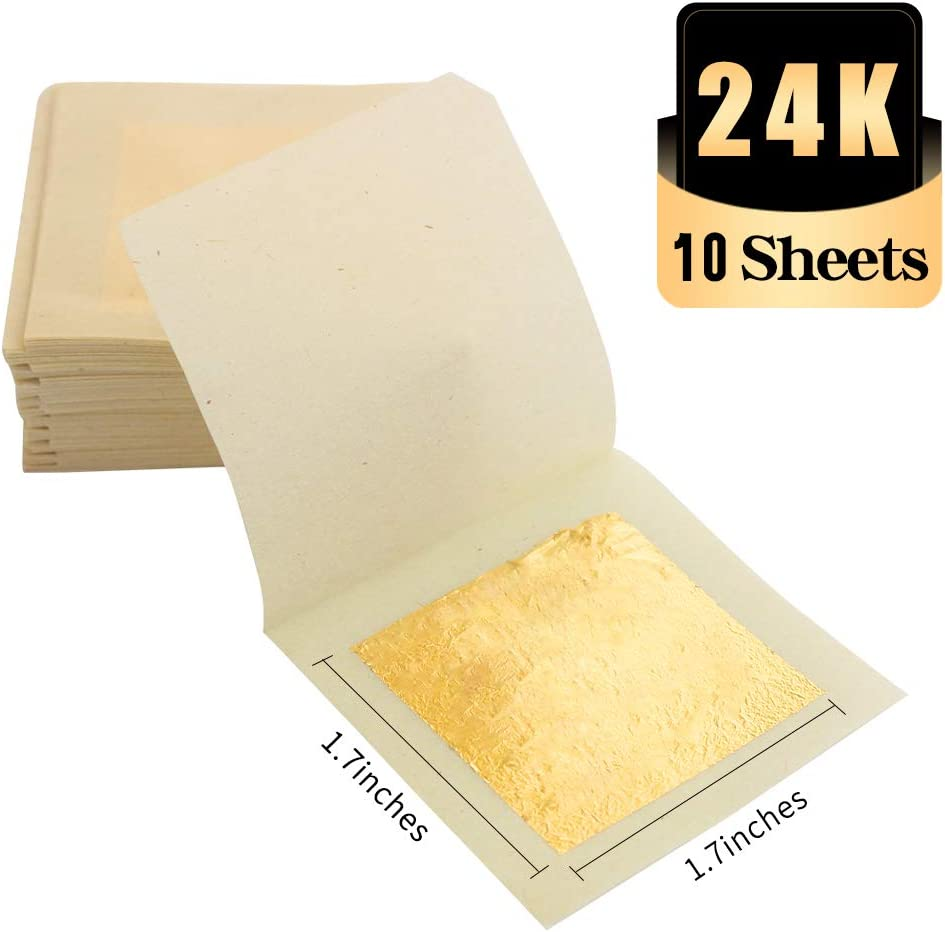 KINNO 24K Edible Gold Leaf Sheets, 10 Sheets 1.7