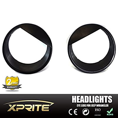 Xprite Black Bezels Front Light Headlight Angry Bird Style ABS Trim Cover Eyebrow 2007 - 2017 Jeep Wrangler JK & JK Unlimited