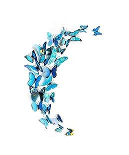 homiki Lot DE 12 Stickers Muraux 3D Papillons Papiers Décoration Mural Autocollants Bricolage Papillon Amovible Réutilisable pour Décoration de Maison,Bleu