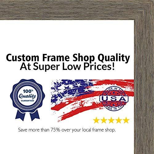 (Poster Palooza 28x36 Rustic Color Wood Picture Frame - UV Acrylic, Foam Board Backing, Hanging Hardware Included!)
