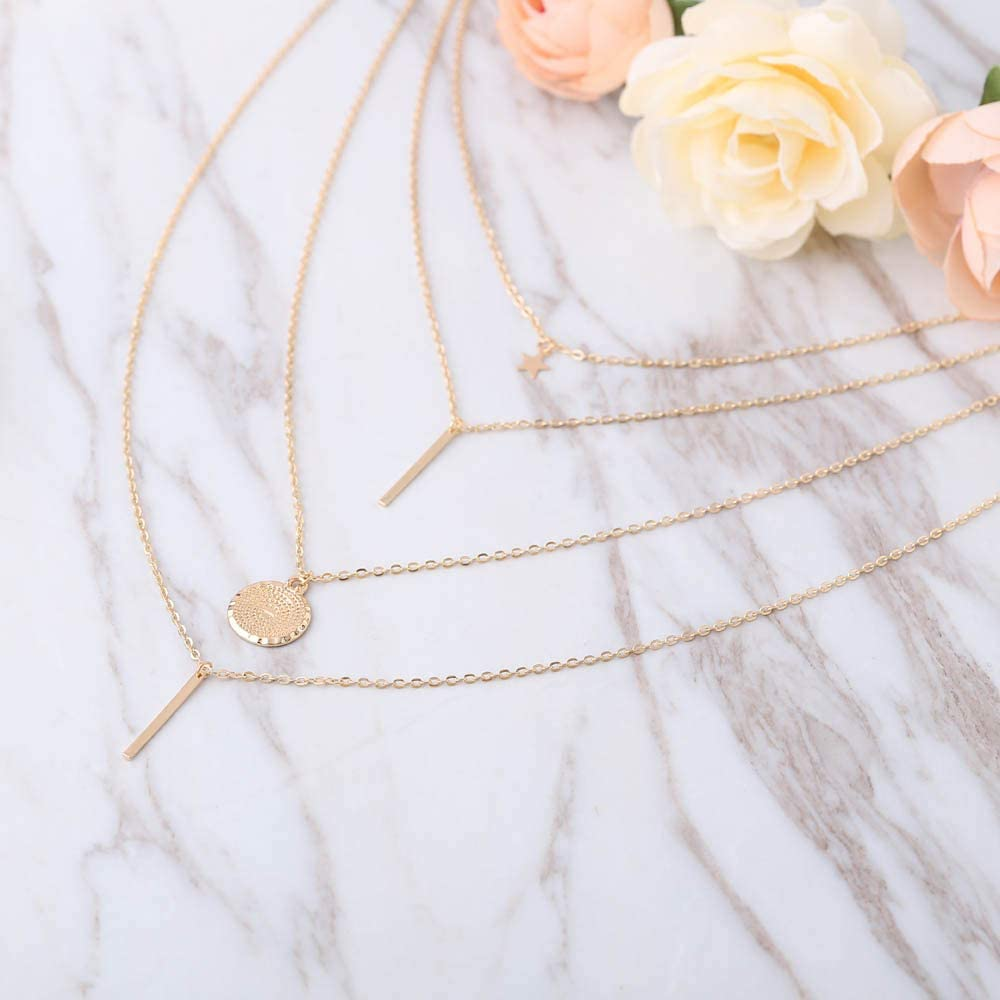 Jovono Bohemia multicouche dames collier avec pentagramme et cha/înes pendentif cha/înes de collier de mod/èle pour les femmes