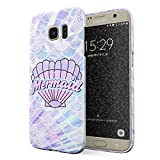 Glitbit Compatible with Samsung Galaxy S7 Edge Case Mermaid Seashell Paua Abalone Queen Princess Ocean Sea Holographic Purple Aesthetic Thin Design Durable Hard Shell Plastic Protective Case Cover