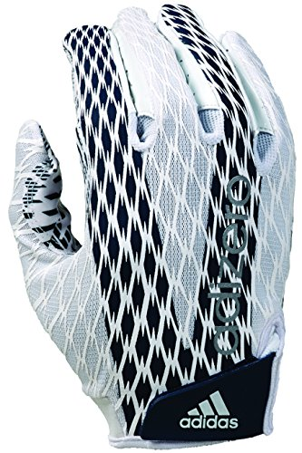 adidas Adizero 4.0 Adult Football Receiver's Gloves, White/Navy, Small ()