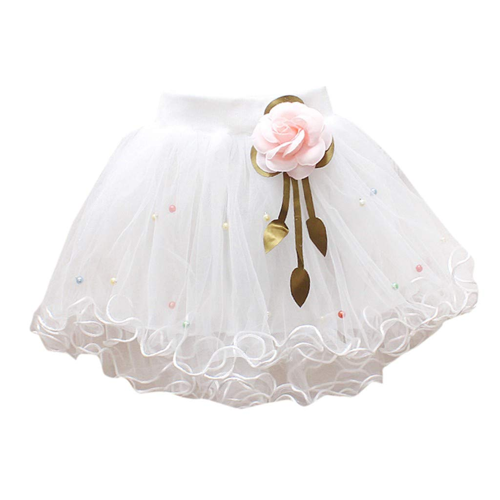 WUAI Baby Girls Tutu Skirts Layered Tulle Birthday Princess Dance Party Floral Dresses (White,3-4 Years)