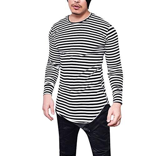 Fit shirts De Tops Slim Manches Rayé Sweatshirt Aimee7 Noir Longues Sport Élastique T Homme qw8Ixx7zt