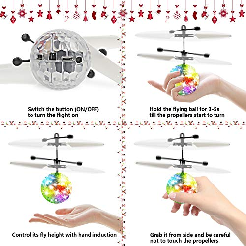 kizplays UTTORA Flying Ball Kids Toys Flying Toys for Kids Hand Control LED Disco Lights RC Flying Drone Toys for Boys Girls 7 8 9 10 11 12 Birthday Indoor Outdoor Rechargeable