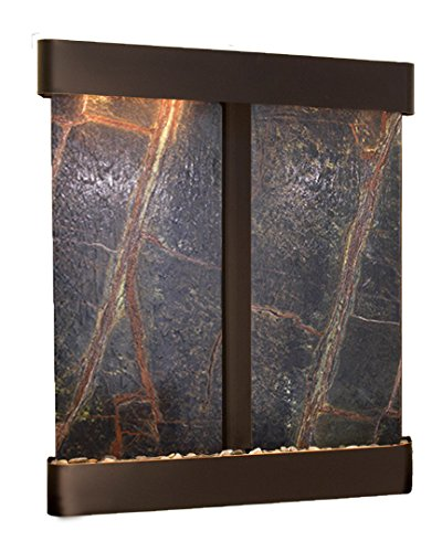 Copper Round Wall Fountain - Cottonwood Falls Water Feature with Blackened Copper Trim and Round Edges (Rainforest Green Marble)