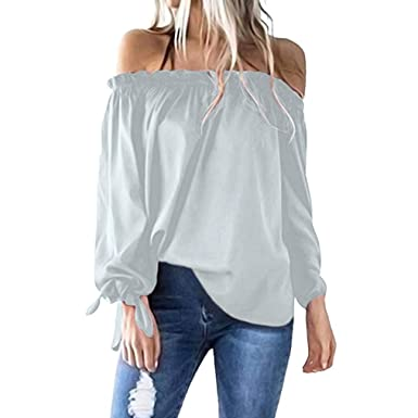 0865b281bd3920 Off Shoulder Tops,Toimoth Women Casual Boat Neck Long Sleeve Cold Shoulder  T-Shirt