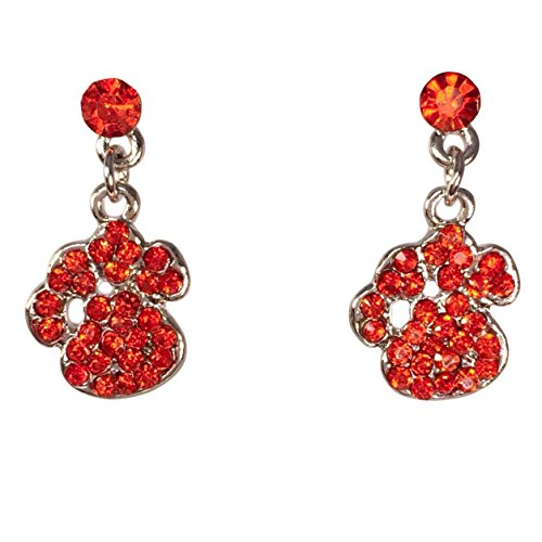 Small Orange Paw Print Rhinestone Dangle Post Bling Earrings - Clemson ()