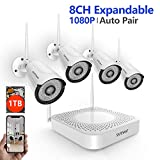 [2019 Update] 1080P Security Camera System Wireless,Safevant 8CH 1080P Wireless Security Camera System(1TB Hard Drive),4PCS 1080P(2.0MP) Indoor/Outdoor Wireless IP Cameras,Plug&Play,No Monthely Fee