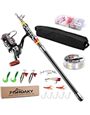 FISHOAKY Telescopic Fishing Rod Set, Carbon Fiber Spinning Fishing Pole and Reel Combo Line Lures Tackle Hooks Travel Bag for Saltwater &Freshwater | Kids&Adults | Boat,Surf,Lake