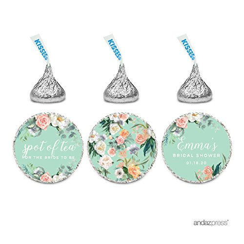 Andaz Press Peach Mint Green Floral Garden Party Wedding Collection, Personalized Chocolate Drop Label Stickers Trio, 216-Pack, Custom Name, Fits Hershey's Kisses Party (Garden Personalized Chocolate)
