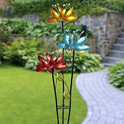 Exhart Triple Lotus Flower Wind Spinners Garden Stake – 3 Metallic Flower Spinners in Colorful Yellow, Blue, and Red Metal Design Spin - Yard Art Décor, 17 by 53 Inches: Exhart: Garden & Outdoor