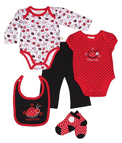 Duck Duck Goose Baby Girls 5pc Onesie, Bodysuit, Pant, Bib, Sock Set-Lady-0-3
