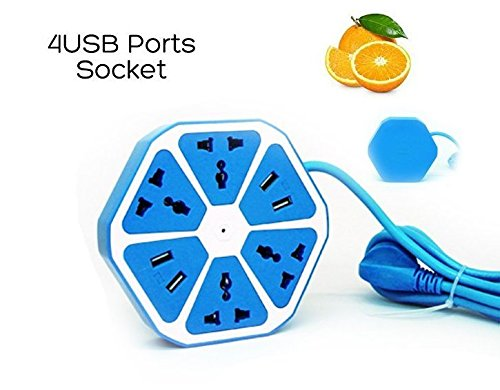 Smart 4-Outlet with 4-USB Hexagon Creative Power Strip (Blue) - 2