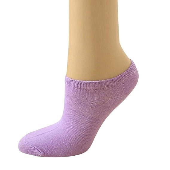 VJGOAL Moda casual linda Color sólido Color del caramelo Microfibra Calcetines de tobillo de corte bajo