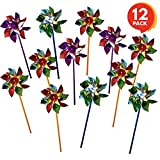 ArtCreativity 6 inch Pinwheels Set (Pack of 12) | Assorted Colors | Fun Carnival Toy and Party Favor | Yard - Garden Spinning Windmill | Amazing Gift Idea for Boys and Girls Ages 3+