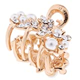 CUTICATE Women Metal Vintage Flower Hair Claw Clamps Crystal Hair Clip Hairpin - White Leaf, as described