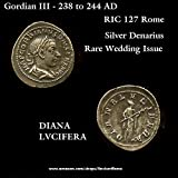 240 IT Gordian III. Diana holding Torch. 240 AD. Rare Special Wedding Issue. Ancient Roman Empire Coin. Denarius Fine