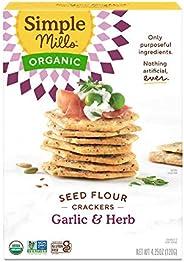 Garlic & Herb Crackers, Simple Mills Seed Crackers, Gluten Free, Flax Seed, Sunflower Seeds, Corn Free, Lo