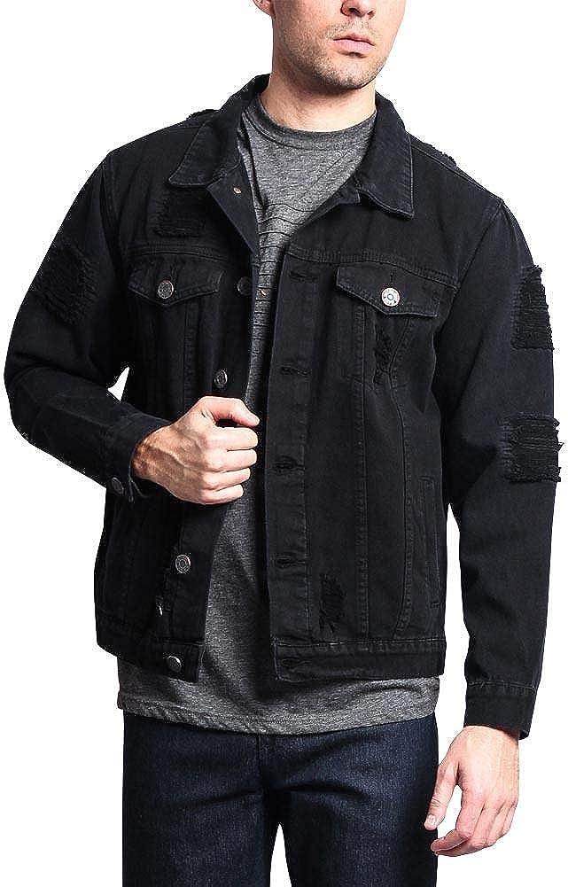 Premium Cotton Slightly Distressed Denim Jacket DK102 - BLACK - X-Large - II9F