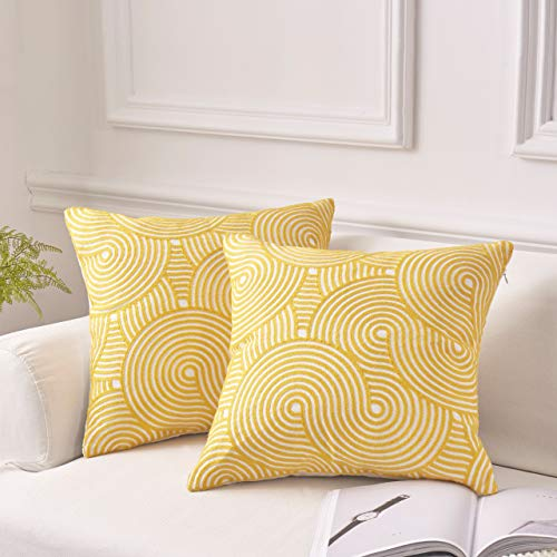 MoMA Decorative Embroidered Wave Throw Pillow Covers (Set of 2) - Pillow Cover Sham Cushion Cover - Throw Pillow Cover - Sofa Throw Pillow Cover - Square Pillowcase - Yellow - 18