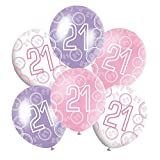 "Mixed Pink/White/Purple Glitz Girls Classy Happy Birthday Balloons, Anniversary, Special Occasion, Party Decoration Latex 12"" Balloons 6 In Each Pack All Ages (21st Balloons)"
