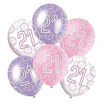 Mixed Pink White Purple Glitz Girls Classy Happy Birthday Balloons Anniversary Special