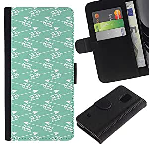 For Samsung Galaxy S5 V SM-G900,S-type® Teal Arrow Indian Minimalist Pattern Chevron - Dibujo PU billetera de cuero Funda Case Caso de la piel de la bolsa protectora