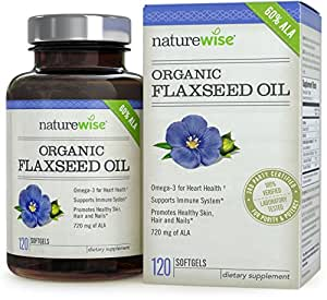 NatureWise Flaxseed Oil 1200mg with 720 mg ALA, Omegas 3-6-9 for Cardiovascular Health & Immune Support, Promotes Healthy Skin, Nails & Hair, Non-GMO, 120 count