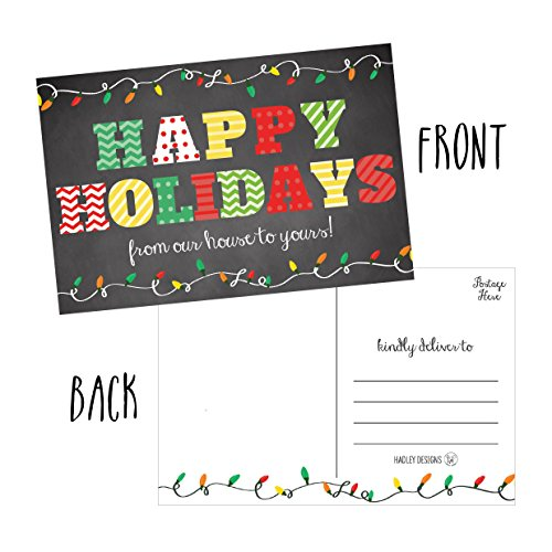 50 Chalkboard Holiday Greeting Cards, Cute Fancy Blank Winter Christmas Postcard Set, Bulk Pack of Premium Seasons Greetings Note, Happy New Years for Kids, Business Office or Church Thank You Notes Photo #4