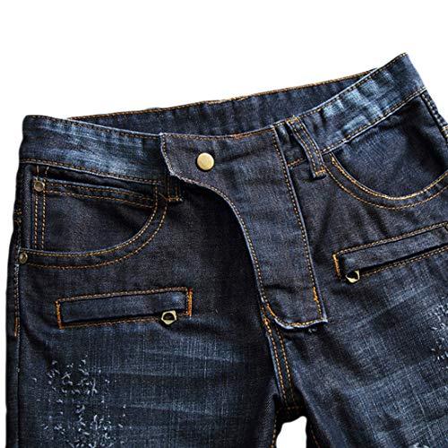 Mode Pantalon Geurzc Denim Troué Trou Homme Hommes Déchiré En Straight Foncé Coupe À Droite Pour Jeans Élastique Bleu Fit Slim Skinny Serré 66pwZAq