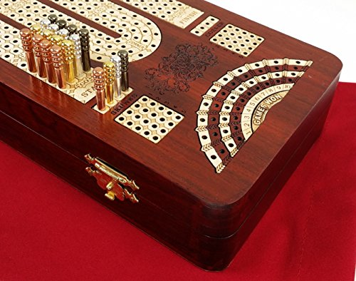 "14"" 4 Track Continuous Cribbage Board W/ Card Storage Maple Tracks on Bloodwood - Corner, Skunk & Games Won"