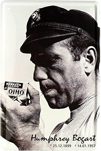 Humphrey Bogart Smoking Cartel de chapa 20x 30Retro Chapa 1719 Blech