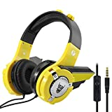 VCOM Kids Headphones, Adjustable Over Ear Stereo Children Headset with Microphone Robot Bumble Bee Design Compatible for Smartphones Kindle Fire Laptop Computers and Tablets - Yellow&Black