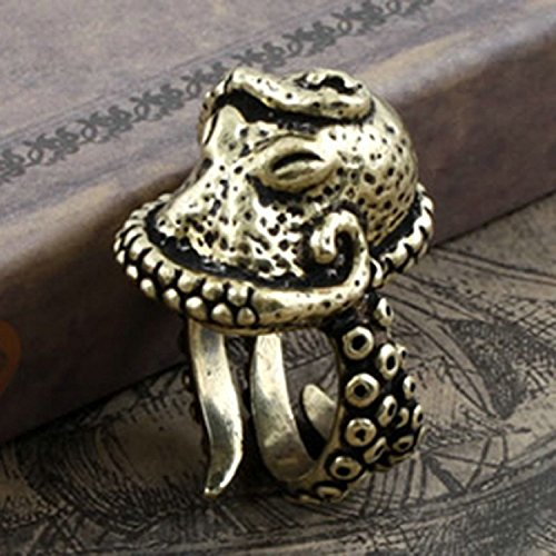 Haiker Vintage Bronze Octopus Sea Monster Squid Kraken Punk Antique Ring Retro Adjustable Ring (Monster High Rings)